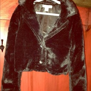 NWT Girls black fur jacket with heart buttons